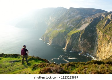 Slieve League, Irelands highest sea cliffs, located in south west Donegal along this magnificent costal driving route. One of the most popular stops at Wild Atlantic Way route, Co Donegal, Ireland.