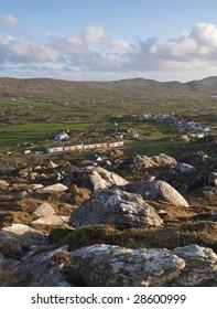 Slieve Miskish Mountains, Co.Cork, Ireland showing Allihies Village in distance