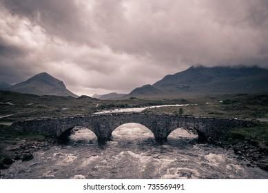 Sligachan bridge with Cuillins Hills on isle of Skye, Scotland.