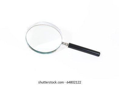Slight Damaged Old Magnifying Glass on White Background