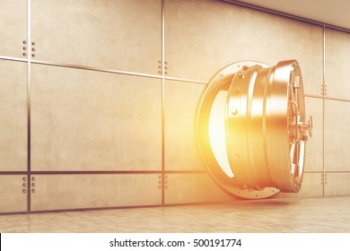 Slightly open sunlit vault door in gray wall. Concept of safe keeping of money and valuables. 3d rendering.