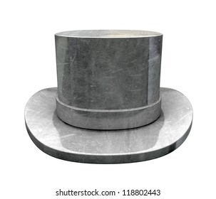 A slightly scratched die-cast top hat on an isolated background