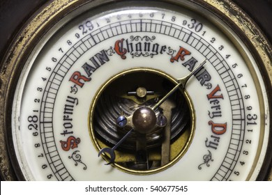 Slightly simplified image of a fair weather forecast on a vintage barometer weather device.
