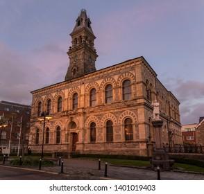 Sligo, Co. Sligo, Ireland - November 3rd 2018: sunset at Sligo City Hall