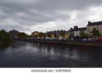 Sligo, Ireland - 15 SEPTEMBER 2018 : Colorful buildings by River Garavogue in Sligo town.