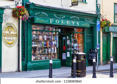 SLIGO, IRELAND - JULY 12, 2018: Front view of an old colorful facade of the building. Old restaurant and pub in the city centre of Sligo, Ireland.