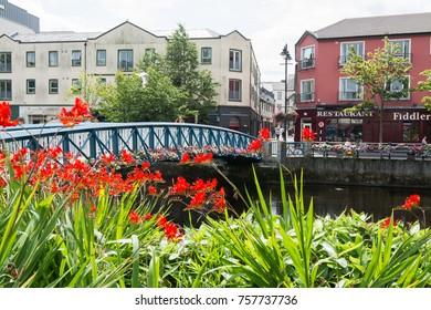 SLIGO, IRELAND - July 14, 2017:  Sligo city, also called Northern Gateway of Ireland,  on the Garavogue river.