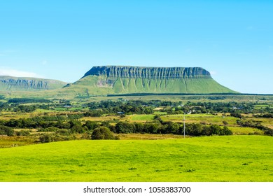 Sligo, Ireland. Panoramic view of Benbulbin mountains during the sunny day with landscape in Sligo, Ireland