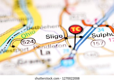 Sligo. Kentucky. USA on a geography map