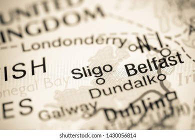 Sligo. Republic of Ireland on a map