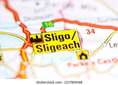 Sligo. United Kingdom on a map