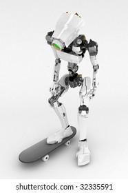 Slim 3d robotic figure, isolated