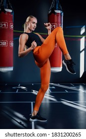 Slim blond woman doing workout punching with foot in modern and shiny gym with punching bags in background.