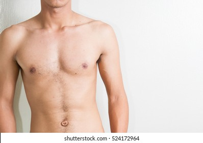 slim boy with Belly button, umbilical Surgery