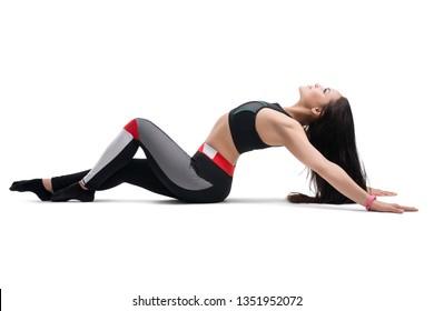Slim brunette doing fitness profile isolated shot