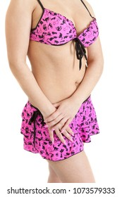 slim female body wearing in a pink swimsuit