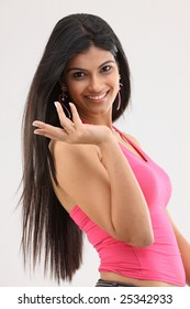 slim girl with nice hands expression