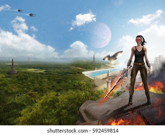 Slim girl warrior on a distant planet hostile