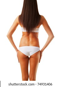 slim healthy woman body on white background