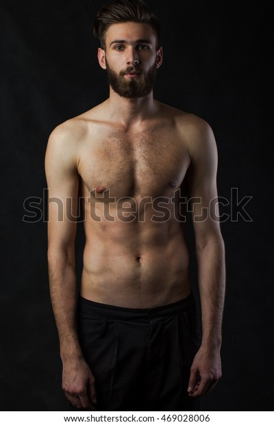 Fantastic Slim Male Fashion Model Beard Naked Stock Photo Edit Now 469028006 Natural Hairstyles Runnerswayorg