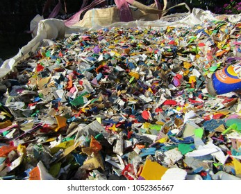 Slim River, Perak / Malaysia - 23 March 2018: Grinded plastic trash at recycling center in Malaysia