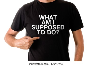 Slim tall man posing in black t-shirt with title WHAT AM I SUPPOSED TO DO