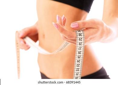 Slim waist with a tape measure around it