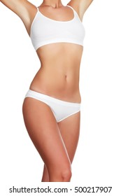 Slim woman body on white background, isolated