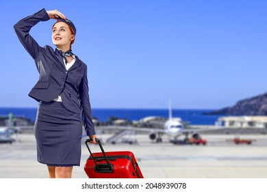 Slim young woman on Airport and free space for your decoration.
