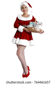 Slim young woman in red hat and santa claus dress. Photo in studio on white background.