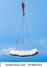 Sling hook lift cargo in jumbo bag loading to vessel