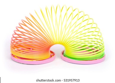 Slinky spring toy isolated on white. Rainbow spring toy.