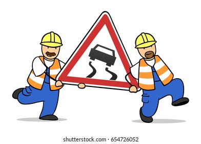 Slip danger road sign carried by two construction workers