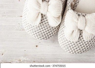 Slipper with bow on the white background