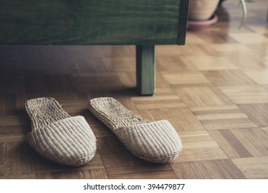 Slippers cane on the parquet floor