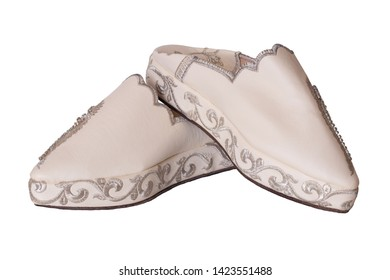 dcba4475a Slippers woman isolated. Closeup of elegant luxurious handmade beige ladies  slippers with beautiful floral embroidery