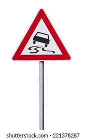 Slippery road warning Traffic sign isolated with clipping path
