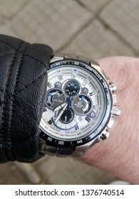 Sliven / Bulgaria - April 16, 2019: YOung man with black leather jacket wearing Casio Edifice Ef-554D, Chronograph
