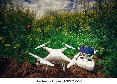 Sliven, Bulgaria - May 07,2017: Image of DJI Phantom 4 Pro Plus drone UAV quadcopter which shoots 4k video and 21 mp still images  and is controlled by wireless remote with a range of 4km