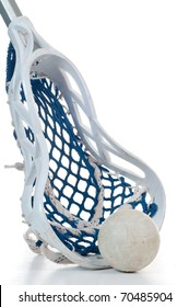 A sliver lacrosse stick with a white head and blue netting along with a gray ball