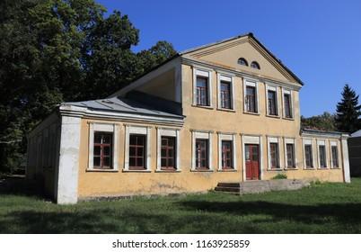 SLOBODA, VORONEZH OBLAST / RUSSIA - AUGUST 21 2018: Khrenovskoy stud farm at Voronezh Oblast. The place of origin of the Orlov trotter horse breed. House of the Countess Anna Orlova