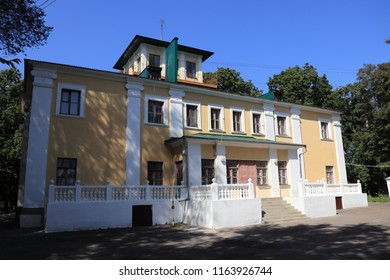 SLOBODA, VORONEZH OBLAST / RUSSIA - AUGUST 21 2018: Khrenovskoy stud farm at Voronezh Oblast. The place of origin of the Orlov trotter horse breed. House of the stud farm manager and museum