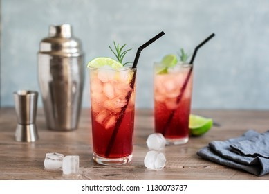 Sloe Gin Fizz Cocktail. Pink cold alcohol drink with ice, lime and soda, copy space.