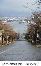 The slope after the rain with a view of the harbor in Hakodate  - Shutterstock ID 1832268067