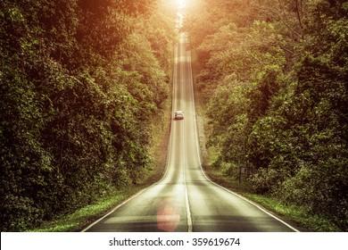 Slope mountain road with sunshine at Khao Yai, Thailand