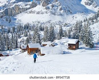 Slope on the skiing resort Braunwald. Switzerland