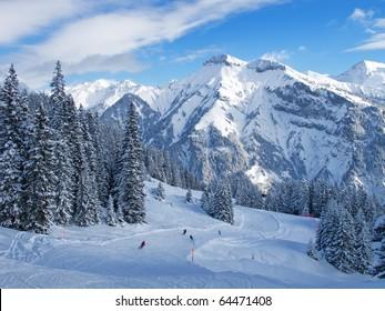 Slope on the skiing resort Elm. Switzerland