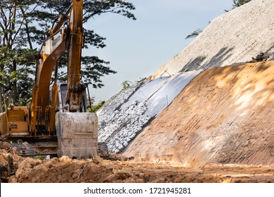 Slope retention construction work being carried out to manage landslide in highland - Shutterstock ID 1721945281