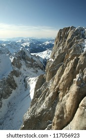 Slope view. Panorama in the Dolomite Mountains, Italy.