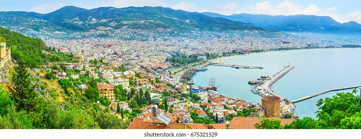 The slopes of the Castle Hill are perfect viewpoints, the old town and coast look great from here, Alanya, Turkey.